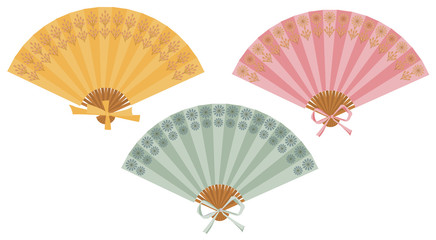 Vector set of isolated fans. The fans set isolated on white background.