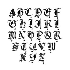 Hand drawn gothic ink pen font. Capital black letters on white background.