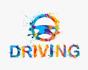 Driving school logo. Steering wheel of rainbow splash paint