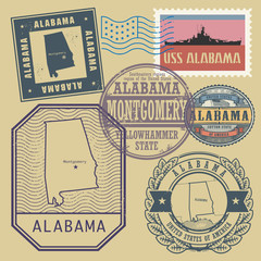 Stamp set with the name and map of Alabama, United States