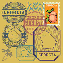 Stamp set with the name and map of Georgia, United States
