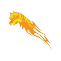 Tiger Leaping And Burned fire