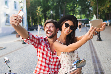 couple making selfie photo