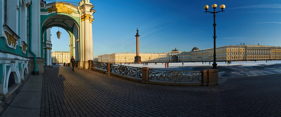 Russia, Saint-Petersburg, 01.03.2016: Panorama of Palace Square in winter, Alexander Column, Winter Palace, the arch of the Main Staff, triumphal chariot, symbol of military glory, snow on the Square