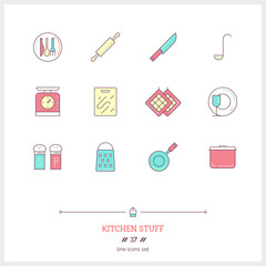 Color line icon set of kitchen stuff objects. Logo icons vector