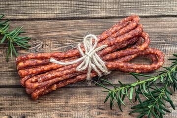 Smoked kabanos sausage - traditional thin sausage in polish cuis