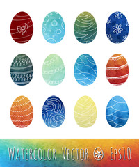 Watercolor Easter Eggs. Vector illustration