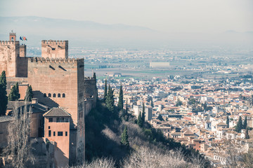 View of the castle and the city of Granada. Andalusia. Spain.