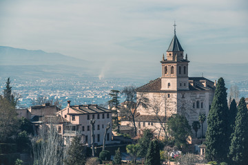 A view of the old castle and the city of Granada. Andalusia. Spain.