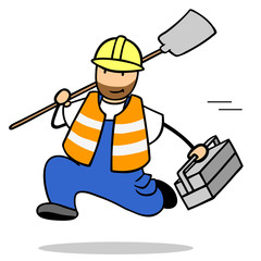 Schneller Bauarbeiter in Bewegung