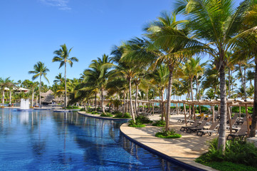 Pool in the Dominican hotel surrounded by palm trees