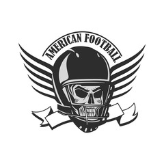 Skull in a helmet  with wings to play American football.