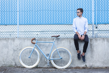 Hipster with trendy bike
