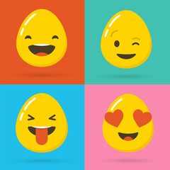 Happy Easter eggs emoticons, emoji set, greeting card
