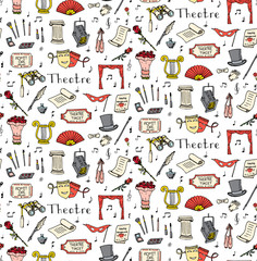Seamless background hand drawn doodle Theatre set Vector illustration Sketchy theater icons Acting performance elements Ticket Masks Lyra Flowers Curtain stage Musical notes Pointe shoes Make-up tools