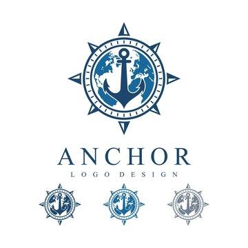 Circle Compass Anchor With Globe Map Vector Logo Design Template