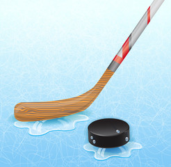 Hockey stick and hockey puck. Illustration 10 version.
