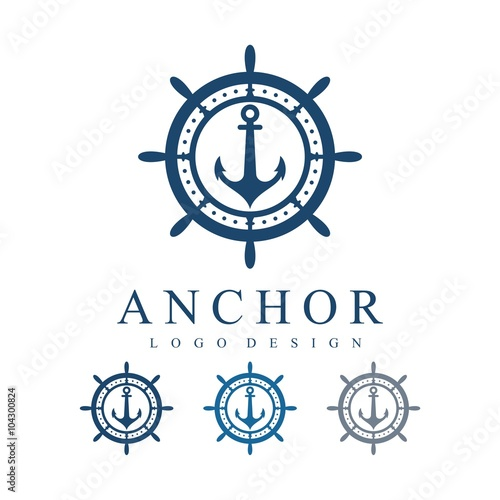 Anchor Template | Circle Ship S Wheel With Anchor Vector Logo Design Template