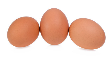 Fresh chicken eggs isolated on white background.