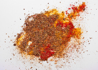 Photo sur Toile Herbe, epice Various colorful spices on white background