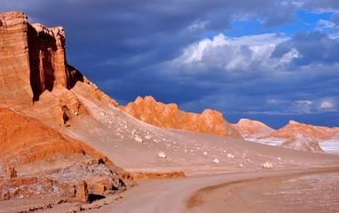 Purple skies during sunset in Valle de la Luna (Valley of the Moon) in the Atacama desert, Chile