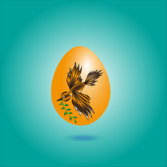 Picture dark yellow egg with a bird Picture dark yellow egg with a bird on a green background leaf in its beak under the shadow egg