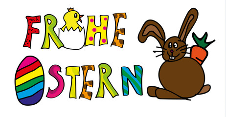 Kinderzeichnung Frohe Ostern Vektor