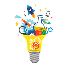 Light bulb bursting with cogs and ideas