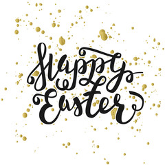 Happy Easter typographic greeting card. Easter Lettering with watercolor