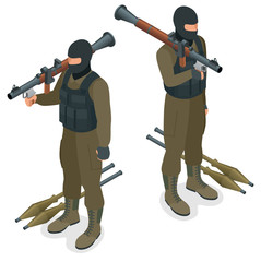Spec ops police officers SWAT in black uniform. Soldier, officer, sniper, special operation unit, SWAT flat 3d isometric illustration. Soldier with AT rocket launcher. User pic Soldier