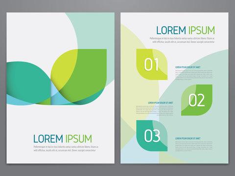 Brochure, annual report, flyer, magazine cover green vector template. Modern flat corporate design.