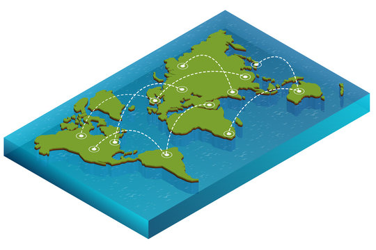 Map world isometric concept. 3d flat illustration of Map world. Vector world map connection Political World Map isometric 3D World map infographic. Map world EPS World map infographics design template