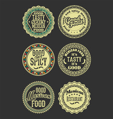Mexican design retro vintage labels black and white set