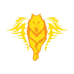 Wolves Running And Flame