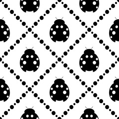 Seamless vector pattern with insects, symmetrical background with decorative closeup black and white ladybugs and rhombus, on the white backdrop. Series of Animals and Insects Seamless Patterns.