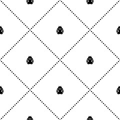Seamless vector pattern with insects, symmetrical background with decorative little black and white ladybugs and rhombus, on the white backdrop. Series of Animals and Insects Seamless Patterns.