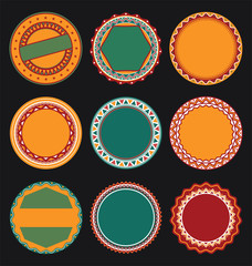 Collection of Mexican Round Decorative Border Frames with Black Filled Background