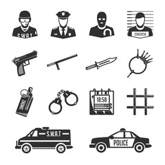 Icons police and thieves.