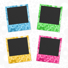 Set of flowers photo frames.