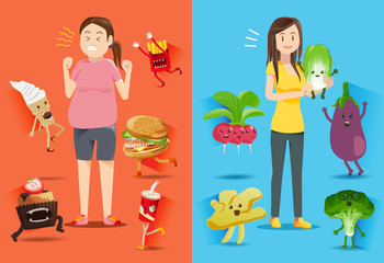 People who are obese tend to be attack from junk food.Good Healthy people often get care from a good diet.Ignoring health and health care.Illustration for advertise healthy lifestyle.EPS 10.