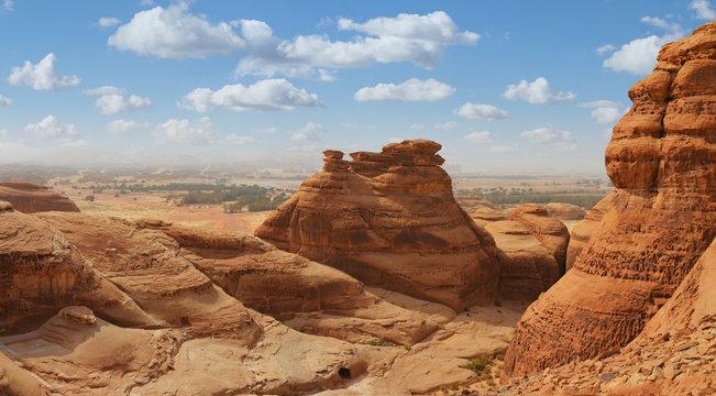 desert landscape mountain panorama , madain saleh , saudi arabia