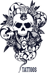 Skull with snake and five roses tattoo