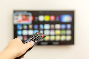 LED smart TV and the remote control.