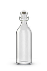 empty glass bottle for milk with reusable plastic cork isolated