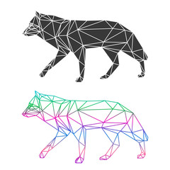 Abstract geometric wolf set isolated on white background