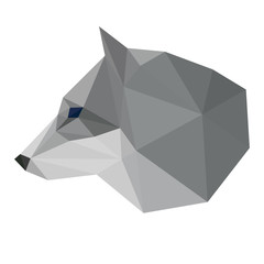Abstract polygonal geometric triangle wolf head isolated on whit