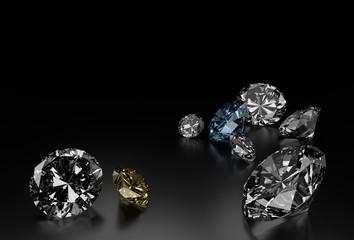 Diamonds on Black Background, Blue and Yellow Small Diamonds