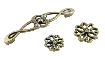 furniture handles bronze flower shape on white background