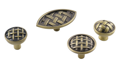 a set of handles for furniture in bronze patterned weaving on a white background