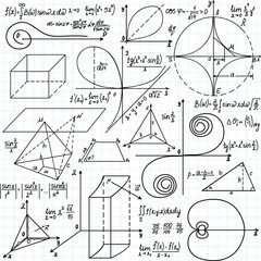 "Beautiful vector pattern with mathematical figures and calculations, ""handwritten on the copybook paper"""